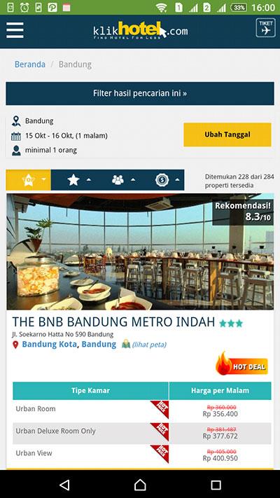 Klikhotel.com - Mobile Friendly banget tampilannya. Salah satu cara menghemat biaya penginapan